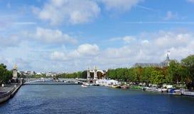 Napoléon 3 bridge and seine river quay Stock Image