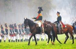 Napoleońskiej wojny żołnierze - reenactors Zdjęcie Royalty Free