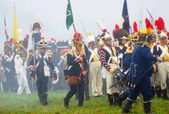 Napoleońskiej wojny żołnierze - reenactors Zdjęcia Stock