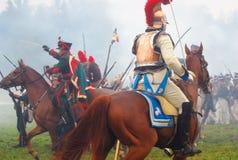 Napoleońskiej wojny żołnierze - reenactors Fotografia Stock