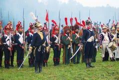 Napoleońskiej wojny żołnierze - reenactors Obrazy Royalty Free