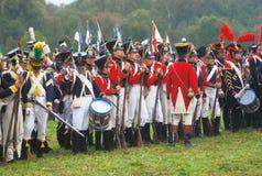 Napoleońskiej wojny żołnierze - reenactors Fotografia Royalty Free