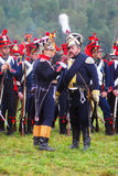 Napoleońskiej wojny żołnierze - reenactors mówić Zdjęcie Royalty Free