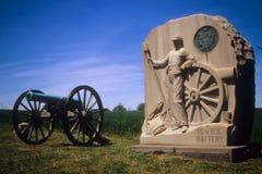 Napoleon artillery battery. And monument near AngleGettysburg National Historical Battlefield,Pennsylvania Stock Image