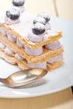Napoleon blueberry cake dessert Royalty Free Stock Photos