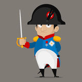 Napoleon Bonaparte cartoon character holds sword. Illustration, Napoleon Bonaparte cartoon character holds sword, format EPS 8 Stock Image