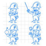 Napoleon Bonaparte character in various poses doodle Stock Image