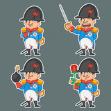 Napoleon Bonaparte character in various poses Royalty Free Stock Images