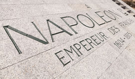Napoleon Bonaparte memorial with text in stone Royalty Free Stock Photography