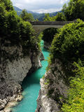 Napoleon-Brücke über Soca-Fluss, Slowenien Stockfotos