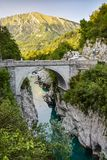 Napoleon Bridge dichtbij Kobarid, Slovenië royalty-vrije stock foto