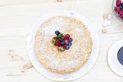 Napoleon cake with berries Royalty Free Stock Images