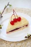 Napoleon cake with cherries Stock Photography
