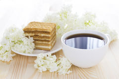 Napoleon cake, cup of coffee Royalty Free Stock Photography