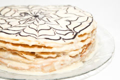 Napoleon cake decorated with chocolate pattern Royalty Free Stock Photos