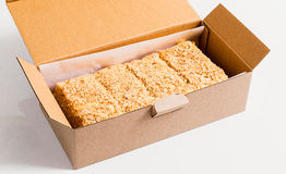 Napoleon cake pieces in a cardboard box Stock Images
