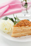Napoleon cake and a rose Royalty Free Stock Photo