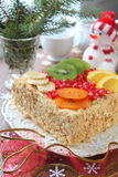 Napoleon cake on a table with Christmas decor Royalty Free Stock Photo