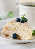 Napoleon cake. Traditional  cake Napolean with cream, selective focus Royalty Free Stock Photography