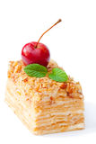 Napoleon  cake with wild apples and mint on white background Royalty Free Stock Images