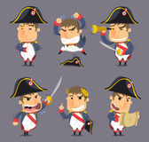 Napoleon cartoon action set. Napoleon Bonaparte Emperor of France Monarch Hegemony,  illustration cartoon Royalty Free Stock Photography