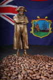 Napoleon figure with St Helena roast coffee beans Stock Image
