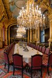 Napoleon III apartments, State dining room interior with royal furniture,  Louvre museum, Paris France stock photography