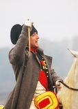 Napoleon jedzie konia przy dziejowym reenactment Fotografia Stock