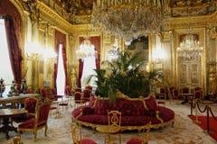 Napoleon`s apartments inside the Louvre Stock Photo