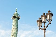 Napoleon's column and street lamp in Paris Royalty Free Stock Photography