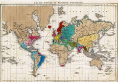 Napoleon's Empire. Map of the World showing Napoleon's Empire in 1811 from an antique atlas, out of copyright royalty free illustration