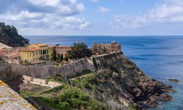 Napoleon`s villa on Elba. The Villa dei Mulini in Portoferraio. Main Naeon`s residence in Elba, Italy. View from the sea stock photos