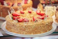 Napoleon tort z truskawką obrazy royalty free