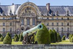 Napoleonic artillery gun near Les Invalides, Paris. Historic Napoleonic artillery gun near Les Invalides in Paris. Les Invalides (National Residence of Invalids Royalty Free Stock Photo