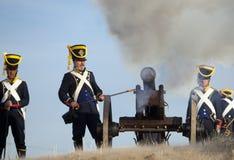 Napoleonic artillery shooting Royalty Free Stock Photos