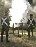 Napoleonic artillery shooting Royalty Free Stock Photo