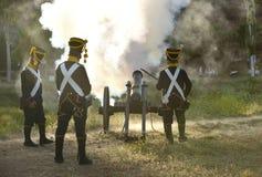 Napoleonic artillery shooting Royalty Free Stock Image