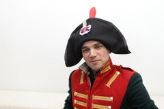Napoleonic soldier. It is portrait of the Napoleonic soldier indoor Royalty Free Stock Image