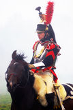 Napoleonic war soldier - reenactor rides a horse Stock Photo