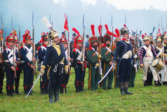 Napoleonic war soldiers - reenactors Royalty Free Stock Images