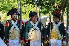 Napoleonica事件的人们 在magnific的被打扮的表示法 免版税图库摄影