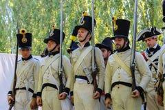 Napoleonica事件的人们 在magnific的被打扮的表示法 免版税库存照片