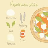 Napoletana pizza ingredients. Vector EPS 10 hand drawn illustartion Royalty Free Stock Images