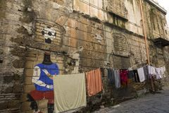 NAPOLI, ΙΤΑΛΊΑ - JANUERY 4Ο, 2018: Άποψη της οδού της Νάπολης στοκ φωτογραφία