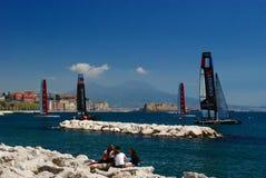 Napoli America's Cup 2012 and Vesuvius Stock Image