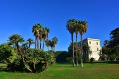 Napoli Capodimonte. 4K Naples, Capodimonte, Royal Palace, park with palm trees and walking boulevards Stock Photos