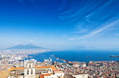 Napoli city with Mount Vesuvius on the background, Italy Stock Photography