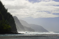 Napoli Coast. The Napoli coast from Kei Kei beach Kauai, Hawaii stock photos