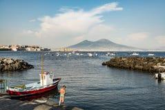 Napoli e supporto Vesuvio Fotografie Stock Libere da Diritti