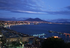 Napoli entro la notte Fotografia Stock